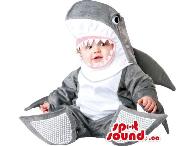 Very Original White And Grey Shark Plush Toddler Size Costume