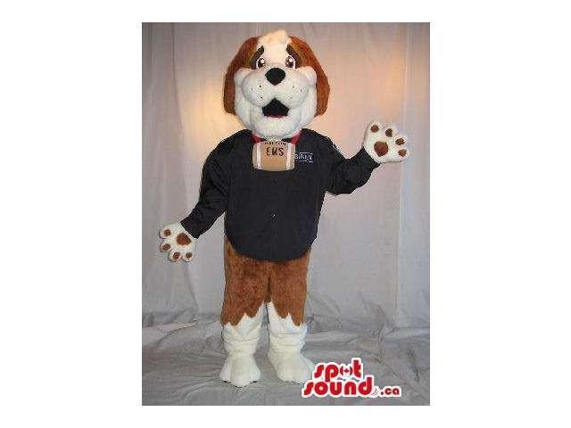 Saint Bernard Dog Plush Canadian SpotSound Mascot In A Customised Top With A Barrel