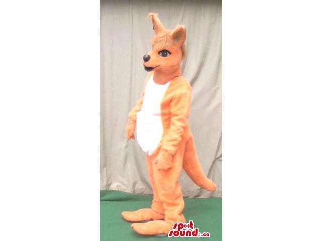 Beige Kangaroo Plush Canadian SpotSound Mascot With A White Woolly Belly