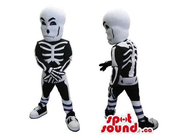 Skeleton Adult Size Costume Or Canadian SpotSound Mascot With A Large White Head