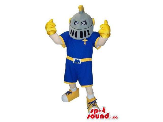 Human Character Canadian SpotSound Mascot With Medieval Soldier Helmet