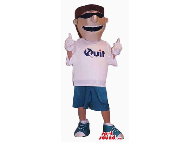 Cool Boy Canadian SpotSound Mascot Dressed In A T-Shirt With A Logo And Sunglasses