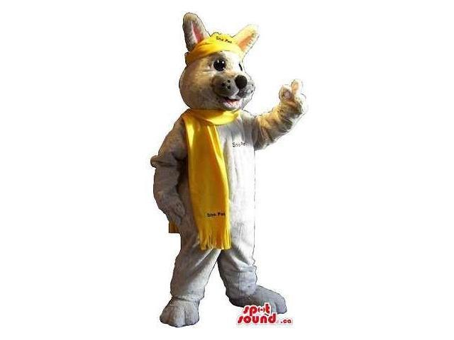 Cool Grey Fox Canadian SpotSound Mascot Dressed In A Yellow Scarf With Text
