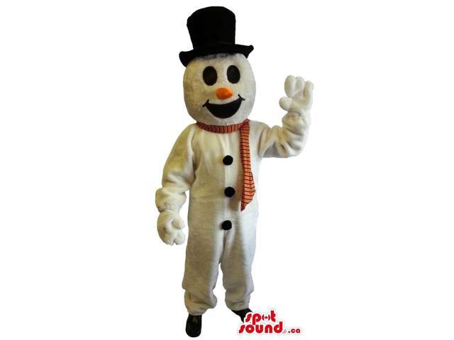 Snowman Plush Canadian SpotSound Mascot Dressed In A Red Scarf And A Top Hat
