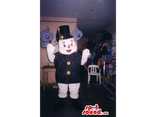 Snowman Plush Canadian SpotSound Mascot Dressed In A Black Jacket And A Top Ha