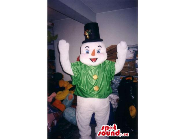 Snowman Plush Canadian SpotSound Mascot Dressed In A Green Jacket And A Top Hat