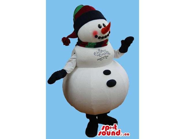 Snowman Plush Canadian SpotSound Mascot With A Large Belly, Dressed In A Hat And A Scarf