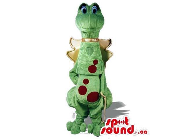Customised Dragon Canadian SpotSound Mascot With Red Dots And Wings