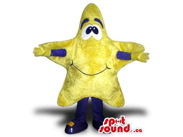 Customised Yellow Star Canadian SpotSound Mascot With A Cute Face And Blue Arms