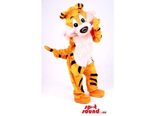 Fairy-Tale Orange Tiger Plush Canadian SpotSound Mascot With A White Belly