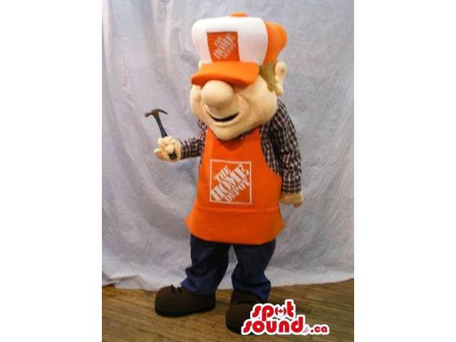 Human Canadian SpotSound Mascot Dressed In An Orange Apron With Logo And Cap