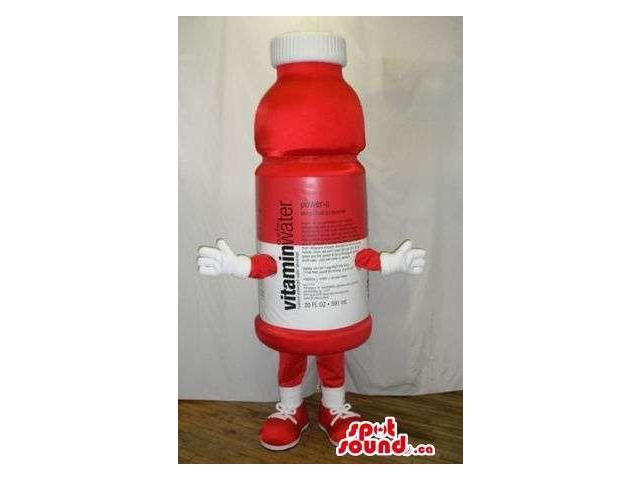 Red And White Bottle Plush Canadian SpotSound Mascot With Text And No Face