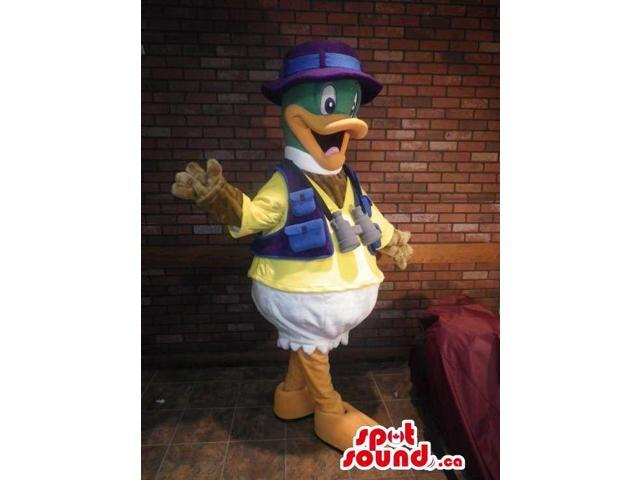 Cartoon Happy Duck Plush Canadian SpotSound Mascot Dressed In Adventure Clothes