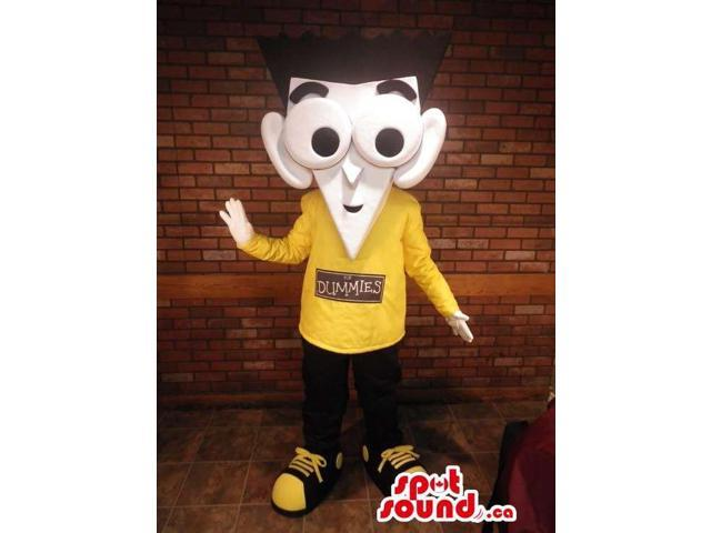 Cartoon Boy Plush Canadian SpotSound Mascot With Large Eyes Dressed In A Yellow T-Shirt