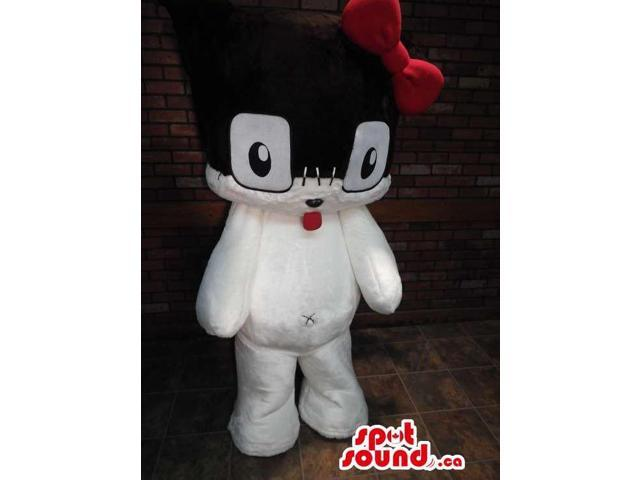White And Black Cute Plush Canadian SpotSound Mascot With A Red Ribbon And Tongue