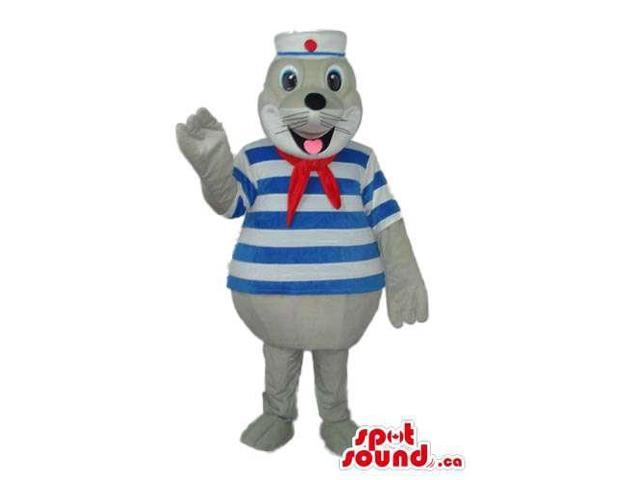 Cute Grey Seal Water Animal Canadian SpotSound Mascot Dressed In Sailor Gear