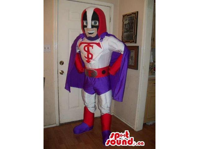 Happy Superhero Human Canadian SpotSound Mascot Dressed In White And Purple Clothes