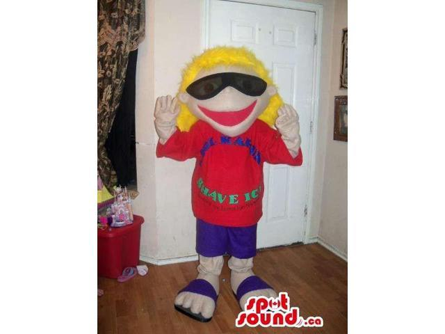 Blond Boy Plush Canadian SpotSound Mascot Dressed In Sunglasses And A Red T-Shirt