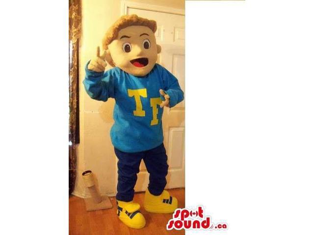 Blond Boy Plush Canadian SpotSound Mascot Dressed In A Blue Customised Top