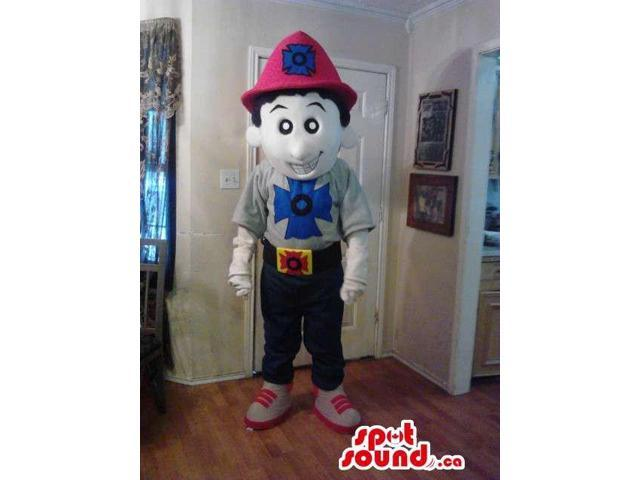 Boy Plush Canadian SpotSound Mascot Dressed In Fireman Clothes And Symbol