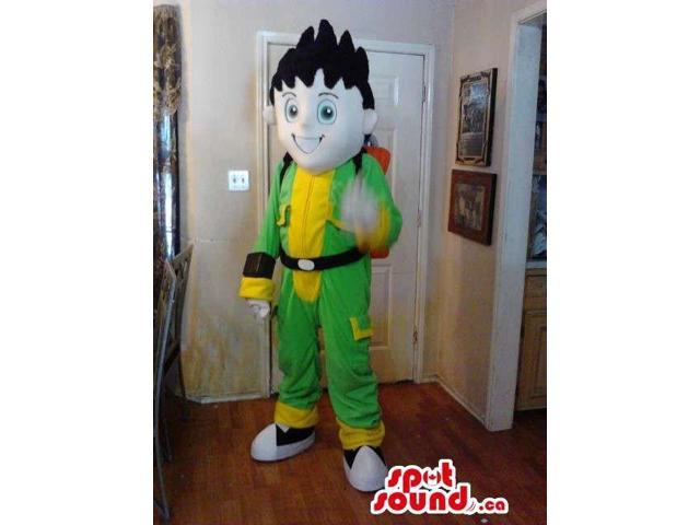Boy Plush Canadian SpotSound Mascot Dressed In Green And Yellow Clothes And A Backpack