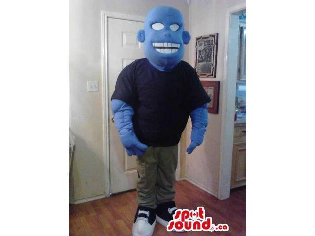Blue Bold Creature Plush Canadian SpotSound Mascot Dressed In Street Wear Gear