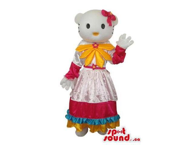 Kitty Cat Well-Known Cartoon Canadian SpotSound Mascot With A Yellow And Pink Dress