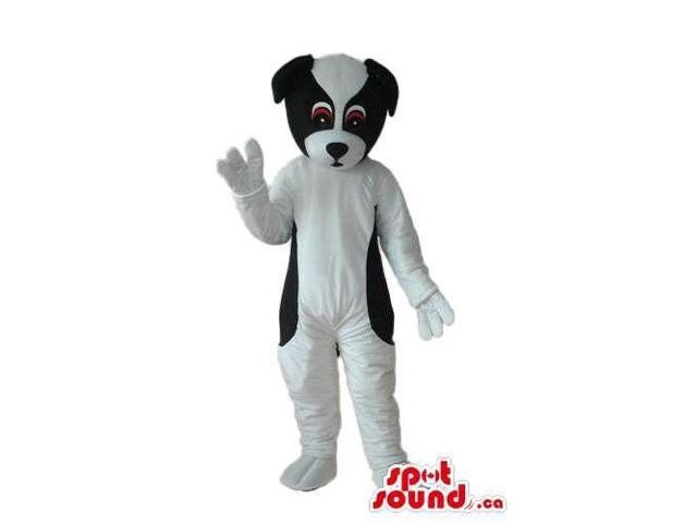 White And Black Cute Dog Plush Canadian SpotSound Mascot With Brown Eyes