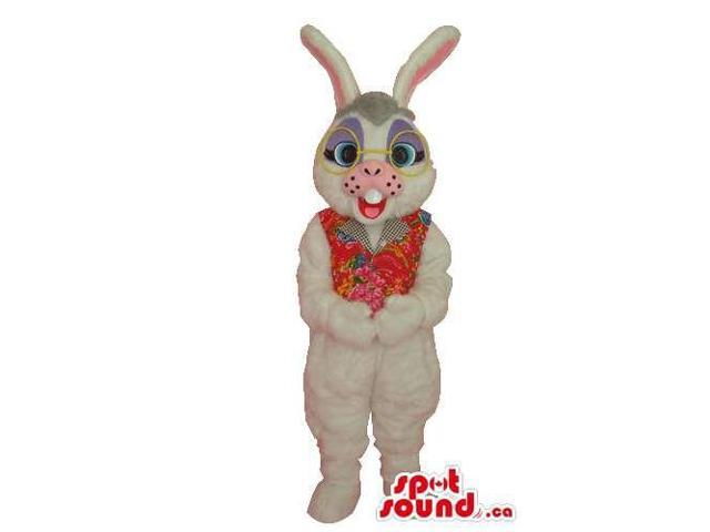 White Bunny Plush Canadian SpotSound Mascot Dressed In Glasses And A Flowery Vest