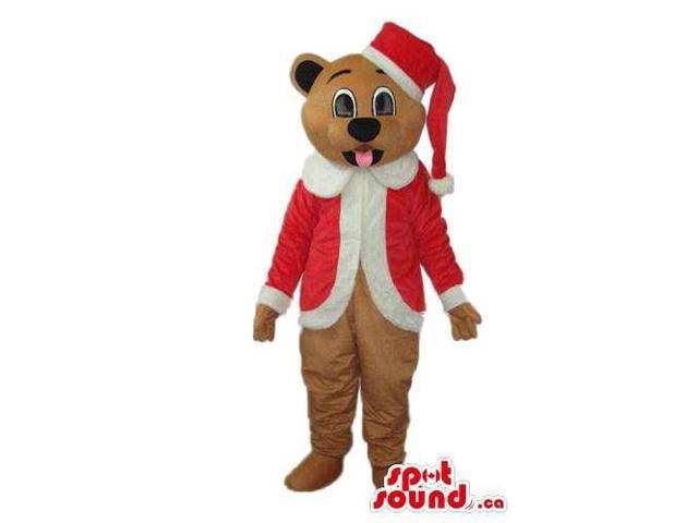 Brown Teddy Bear Plush Canadian SpotSound Mascot Dressed In Santa Claus Gear