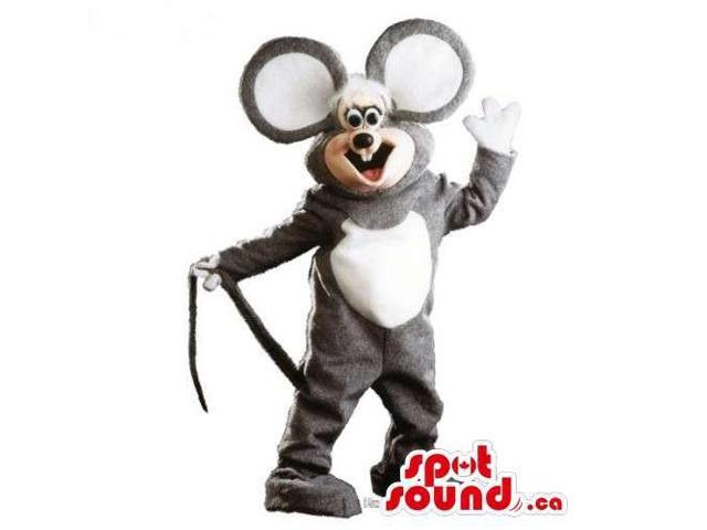 Customised Grey And White Mouse Canadian SpotSound Mascot With Huge Ears