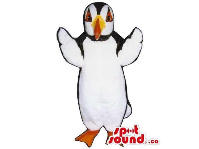 Customised White, Black And Yellow Pelican Bird Canadian SpotSound Mascot