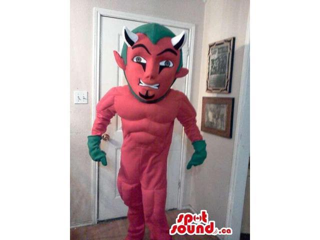 Devil Character Plush Canadian SpotSound Mascot With Green Hair And Gloves