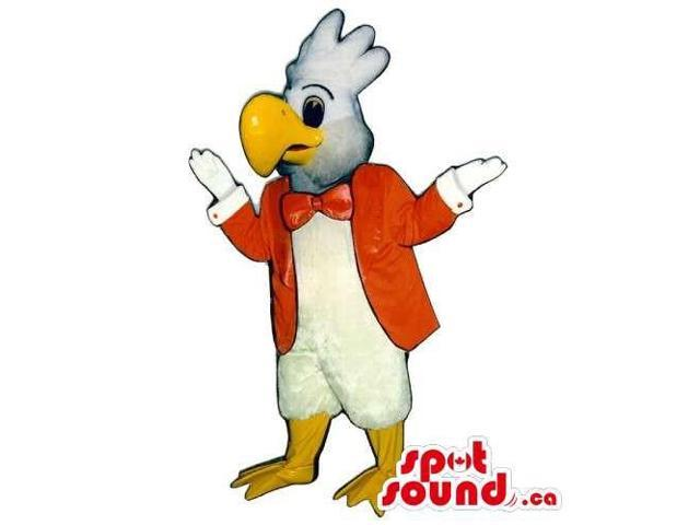 White Eagle Bird Canadian SpotSound Mascot Dressed In A Red Jacket And Bow Tie