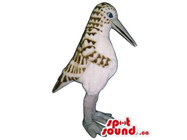 Customised White Bird Canadian SpotSound Mascot With Brown Pattern And A Long Beak