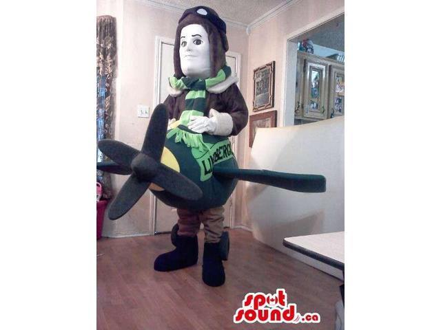 Pilot Character Plush Canadian SpotSound Mascot With A Plane And Logo