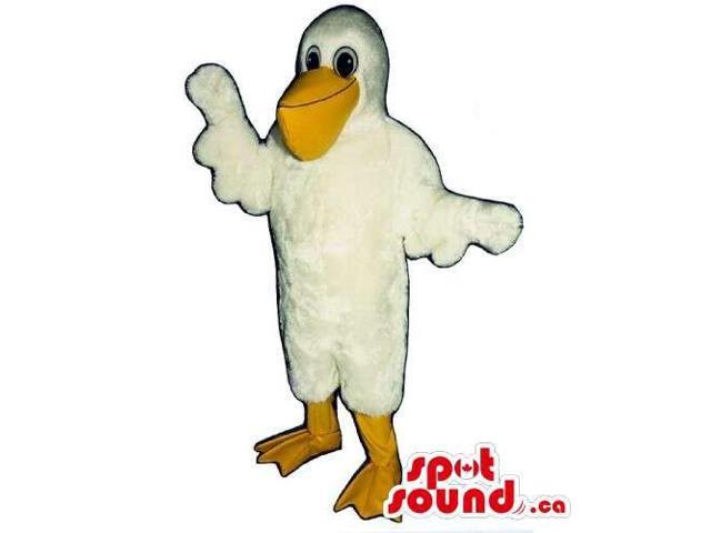 Customised White Pelican Bird Canadian SpotSound Mascot With Large Yellow Beak