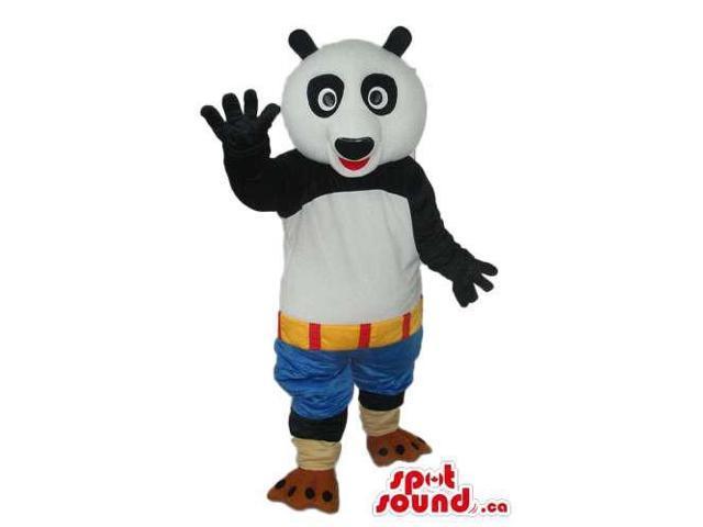 Kung Fu Panda Movie Character Canadian SpotSound Mascot With Blue Shorts