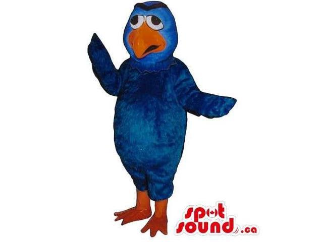 Customised Blue Bird Canadian SpotSound Mascot With A Peculiar Worried Face