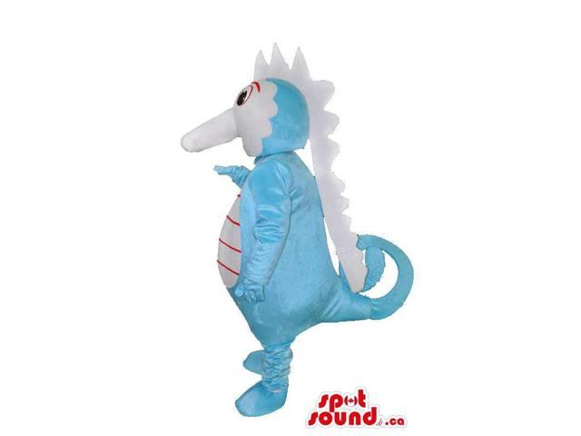 Customised Blue And White Plush Seahorse Canadian SpotSound Mascot With Long Nose