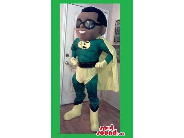 Superhero Boy Canadian SpotSound Mascot Dressed In Green And Yellow Clothes