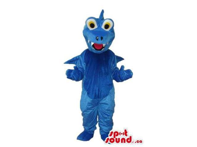 Customised All Blue Dragon Plush Canadian SpotSound Mascot With Yellow Eyes
