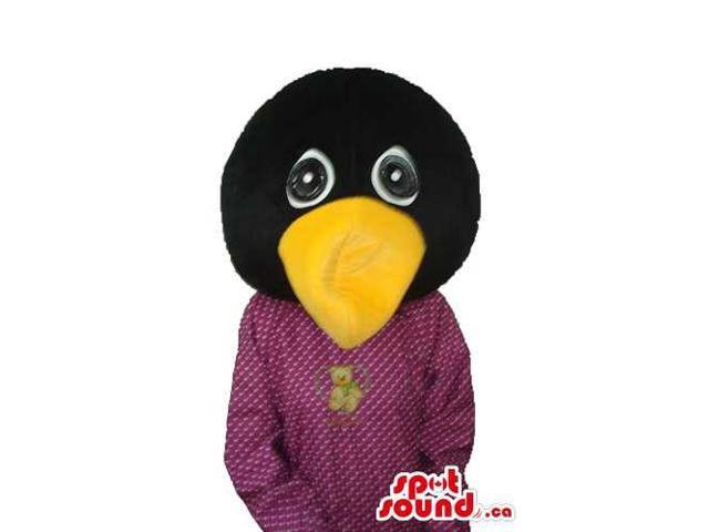 Huge Head Black Bird Plush Canadian SpotSound Mascot With Orange Beak