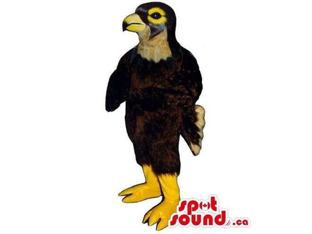 Customised Brown Bird Canadian SpotSound Mascot With A Yellow Beak And Legs