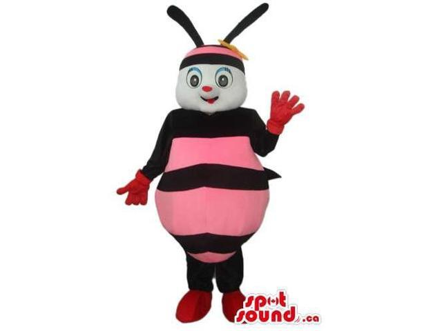 Bee Plush Canadian SpotSound Mascot With A Peculiar Smile And Pink Stripes