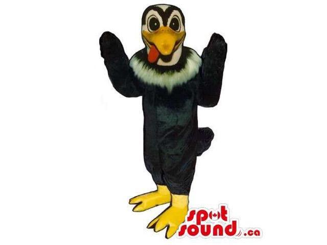 Vulture Bird Canadian SpotSound Mascot With White Collar And Peculiar Tongue