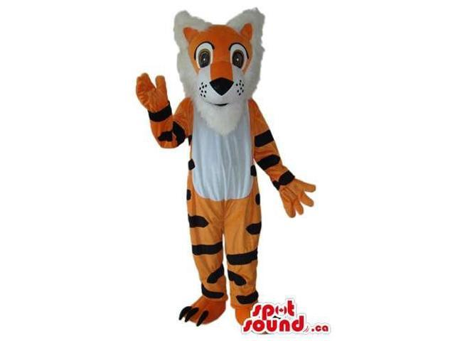 Fairy-Tale Orange Tiger Plush Canadian SpotSound Mascot With A White Belly And Hair