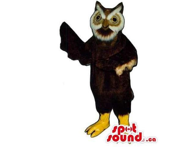 Customised Dark Brown Owl Bird Canadian SpotSound Mascot With Round Eyes