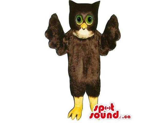 Customised Dark Brown Owl Bird Canadian SpotSound Mascot With Green Eyes