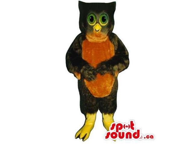 Dark Brown Owl Bird Canadian SpotSound Mascot With Green Eyes And Brown Belly